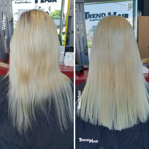 Vorher Nachher Bild aus dem Salon Trend Hair Salon Bad Zwischenahn: Hairtalk Haarverlängerung / Extensions
